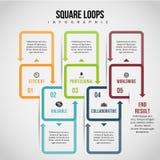 Fyrkanten kretsar Infographic Fotografering för Bildbyråer