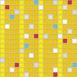 Fyrkanter av gul färg med befruktningar av en olik färg seamless modell Planlagt för att förpacka, textiler eller keramiskt til Arkivfoton