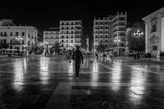 Fyrkanter av natten Valencia spain svart white royaltyfria bilder