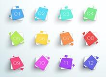 Fyrkanter för abstrakt begrepp för nummerkulpunkt färgrika 1 till vektor 12 stock illustrationer