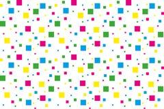 Fyrkanter i guling, rosa färger, gräsplan och blått Arkivbilder