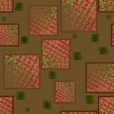 Fyrkanter mönstrar med röd bruntgräsplan för rektanglar Royaltyfri Bild