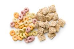 Fyrkanter och cirkel för frukostsädesslag Royaltyfri Bild