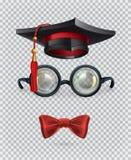 Fyrkantig akademisk lock, akademikermössa, exponeringsglas och fluga symboler för pappfärgsymbol ställde in vektorn för etiketter Royaltyfria Foton