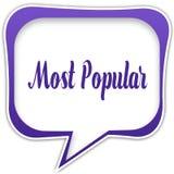 Fyrkantig anförandebubbla för Violet med MEST POPULÄRT textmeddelande royaltyfri illustrationer