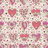 Fyrkantig bakgrund för beiga med rosa dekorativa valentinhjärtor stock illustrationer