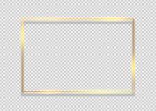 Fyrkantig bakgrund f?r guld- ram Guld- ramlinje med design f?r effekt f?r ljus gl?dsignalljus magisk grafisk royaltyfri foto