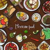 Fyrkantig bakgrund med mexikansk mat, traditionell kokkonst Räcka den utdragna färgrika vektorillustrationen med olik disk royaltyfri illustrationer