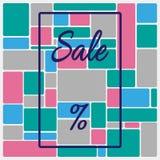 Fyrkantig bakgrund med ramen, text Sale och procenttecknet Mall för annonsering också vektor för coreldrawillustration royaltyfri illustrationer