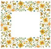 Fyrkantig blommaram för vattenfärg på vit bakgrund stock illustrationer