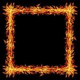 fyrkantig brandram som isoleras på svart Fotografering för Bildbyråer