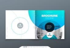 Fyrkantig broschyrdesign Blå broschyr för mall för rektangel för företags affär för kricka, rapport, katalog, tidskrift Broschyr stock illustrationer