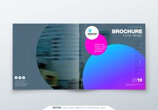 Fyrkantig broschyrdesign Magentafärgad för rektangelmall för företags affär broschyr, rapport, katalog, tidskrift Broschyr royaltyfri illustrationer