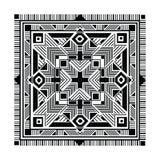Fyrkantig dekorativ modell för person som tillhör en etnisk minoritet Stam- bakgrund, svartfärger på vit Boho textur för textilen Arkivbild