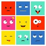 Fyrkantig emojiuppsättning royaltyfri illustrationer