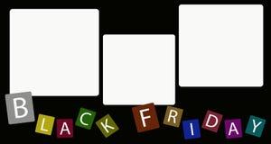 Fyrkantig etikett tre på Black Friday bakgrund Royaltyfri Bild