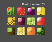 Fyrkantig färgrik fruktsymbolsuppsättning 01 Arkivfoto
