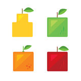 Fyrkantig fruktserie Royaltyfria Bilder