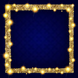 Fyrkantig guld- ram med ljus på en mörk bakgrund royaltyfri illustrationer