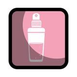 Fyrkantig knapp med glasflaskasprejdoft Royaltyfri Foto
