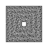 Fyrkantig labyrint på en vit bakgrund med svarta linjer stock illustrationer