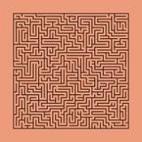 Fyrkantig labyrint, pussel på orange tegelstenfärgbakgrund royaltyfri illustrationer