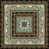 Fyrkantig modell för modern geometrisk grekisk vektor 3d panel mandala Tegelplatta Dekorativ texturerad abstrakt bakgrund Upprepa vektor illustrationer