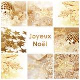 Fyrkantig noel för joyeux för hälsningkort som betyder glad jul i franskt arkivbild