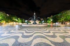 Fyrkantig Pedro dropp (Rossio) i Lissabon på natten Royaltyfri Foto