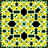 Fyrkantig polygonal modell för blommadiamantram i guling, svartvit effektorigami stock illustrationer
