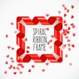 Fyrkantig ram av det röda spiral bandet med hjärtakonfettier Arkivbild