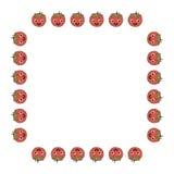 Fyrkantig ram av positiva tomater stock illustrationer