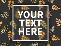 Fyrkantig ram för text På bakgrunden av höstsidor på grå bakgrund Skandinavisk stil Vect Arkivbild