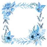 Fyrkantig ram för vattenfärg med blåa blommor stock illustrationer