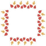 Fyrkantig ram med hemtrevliga vertikala röda och orange sidor på vit bakgrund royaltyfri illustrationer