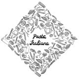 Fyrkantig ram med italiensk makaroni av olika sorter Attraktion f?r svart hand p? vit bakgrund royaltyfri illustrationer