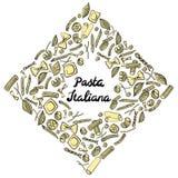 Fyrkantig ram med italiensk makaroni av olika sorter Kulör handattraktion på vit bakgrund stock illustrationer