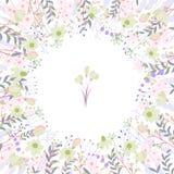 Fyrkantig ram med konturrosor och örter på vit Blom- modell för din bröllopdesign, blom- hälsningkort Royaltyfri Foto