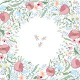 Fyrkantig ram med konturvallmo, lösa blommor och örter på vit Blom- modell för din bröllopdesign Royaltyfri Bild