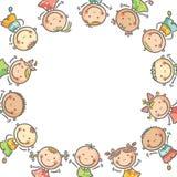 Fyrkantig ram med många lyckliga ungar Royaltyfri Bild