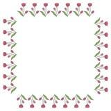 Fyrkantig ram med vertikala älskvärda rosa tulpan på vit bakgrund vektor illustrationer