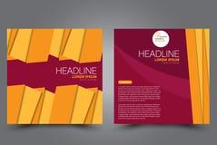 Fyrkantig reklambladmall Geometrisk orientering av broschyren Årsrapportaffisch royaltyfri illustrationer