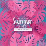Fyrkantig sammansättning med papper klippte rosa djungelsidor på blå bakgrund Att märka text döljer i tropiska exotiska växter royaltyfri illustrationer