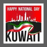 Fyrkantig Shape Kuwait medborgare och befrielsedagaffisch stock illustrationer