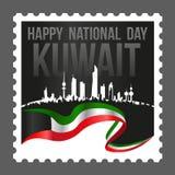 Fyrkantig Shape Kuwait medborgare och stämpel för befrielsedagporto stock illustrationer