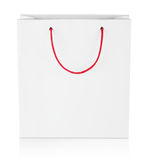 Fyrkantig shoppingpåse på vit royaltyfria foton