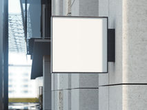 Fyrkantig skylt på en kontorsbyggnad framförande 3d Royaltyfria Foton