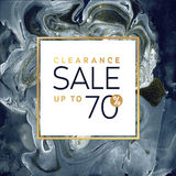 Fyrkantig svartvit banermall för utförsäljning med marmortextur på vit bakgrund Guld skimrar vektorn Royaltyfri Foto