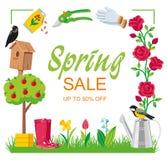 Fyrkantig trädgård för Sale vårram arkivfoton