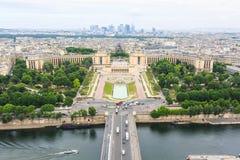 Fyrkantig Trocadero sikt från Eiffeltorn Fotografering för Bildbyråer